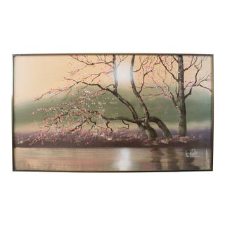 1950s Vintage Lee Reynolds Original Signed Cherry Blossoms Oil Painting For Sale