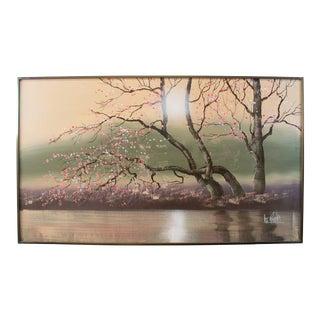 1950s Vintage Lee Reynolds Original Signed Cherry Blossoms Oil Painting For Sale