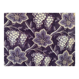 "Antique French Fabric Purple Madder Grape Harvest Pattern Fabric - 41x59"" For Sale"