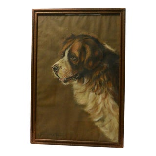 1920s Saint Bernard Portrait Painting, Framed For Sale