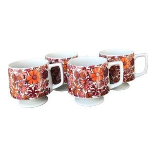 Mid-Century Modern Holt Howard 1965 Footed Floral Coffee Mugs - Set of 4 For Sale