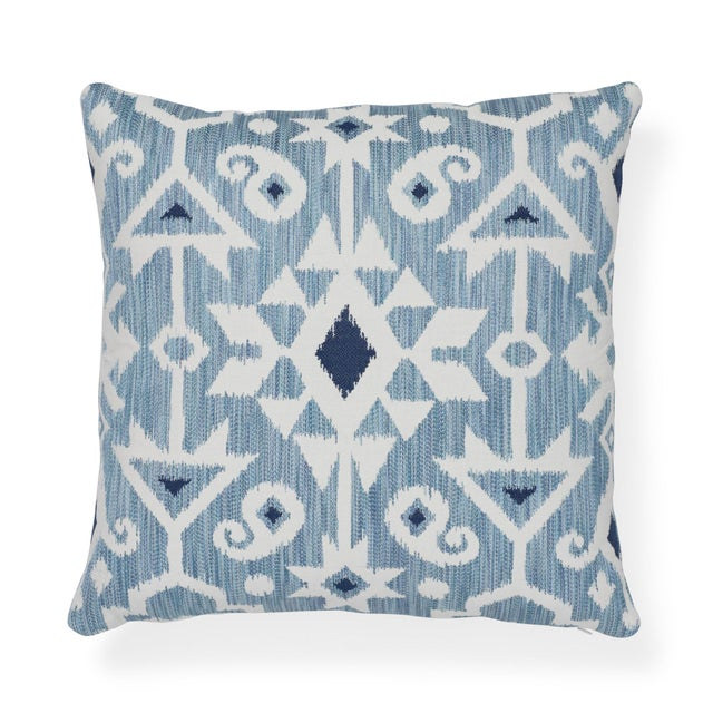 """Feather Contemporary Schumacher Crusoe Ikat Sky Two-Sided Cotton Pillow - 20ʺW × 20""""H For Sale - Image 7 of 7"""