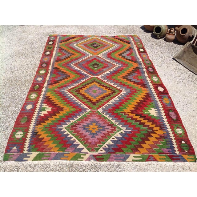 Boho Chic Vintage Turkish Kilim Rug - 5′7″ × 8′7″ For Sale - Image 3 of 9