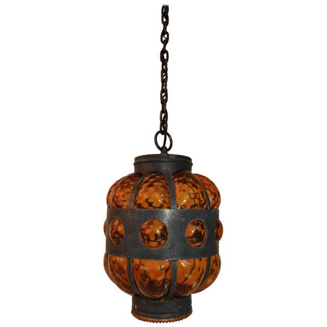 1950s 1950s Elegant Lantern Light With Amber Hand Blown Glass For Sale - Image 5 of 5