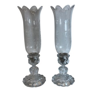 1940s Traditional Baccarat Crystal Hurricane Candleholders - a Pair