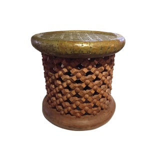 D African Bamileke Spider Stool/Table with Brass Top For Sale