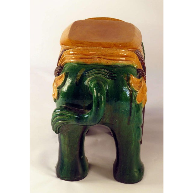 Circa 1850 Ching Dynasty Green Glazed Elephant Garden Seats - A Pair For Sale - Image 5 of 7