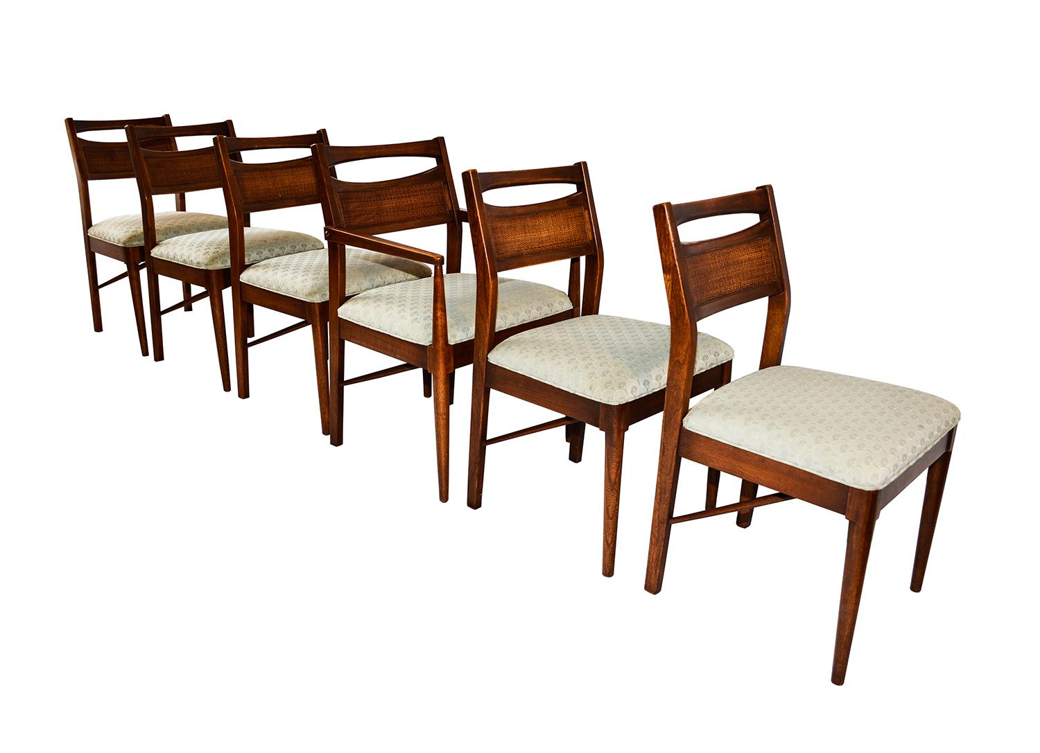Mid Century Modern Six Walnut Dining Chairs American Of Martinsville    Image 2 Of 10
