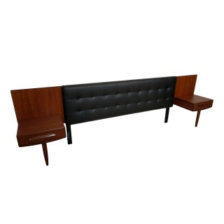 Mid-Century Modern King Headboard With Floating Teak Nightstands Preview