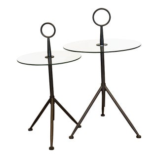 Vintage Metal Ring Glass Side Tables - A Pair