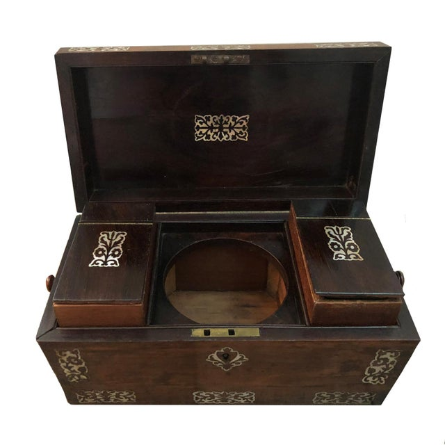 Traditional Mid 19th Century Vintage English Rosewood Mother Pearl Inlay Tea Caddy For Sale - Image 3 of 5