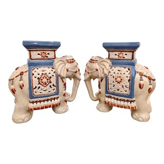 Hollywood Regency Tabletop Elephant Plant Stands / Figures, a Pair For Sale