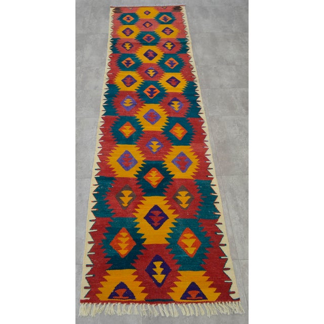 "Turkish Hand Woven Wool Nomad Runner Rug - 2'6"" X 9'1"" - Image 5 of 8"