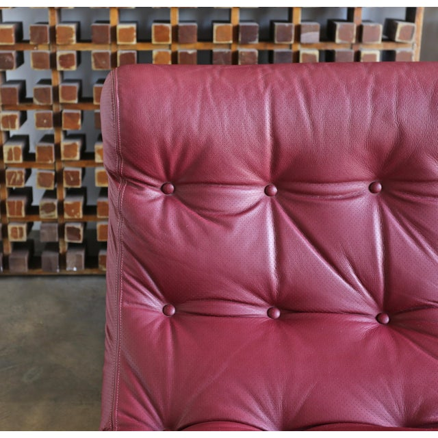 1970s Renato Balestra Leather Lounge Chairs for Cinova Italy, Circa 1970 For Sale - Image 5 of 11