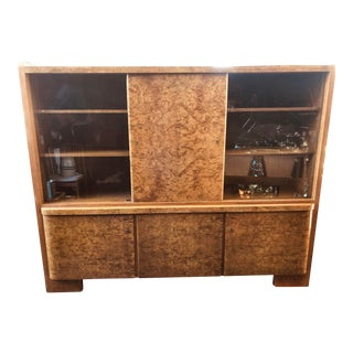 1930's Deutsche Mobel Burl Wood Display Cabinet For Sale