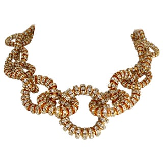 Francoise Montague Gold and Crystal Link Choker Necklace For Sale