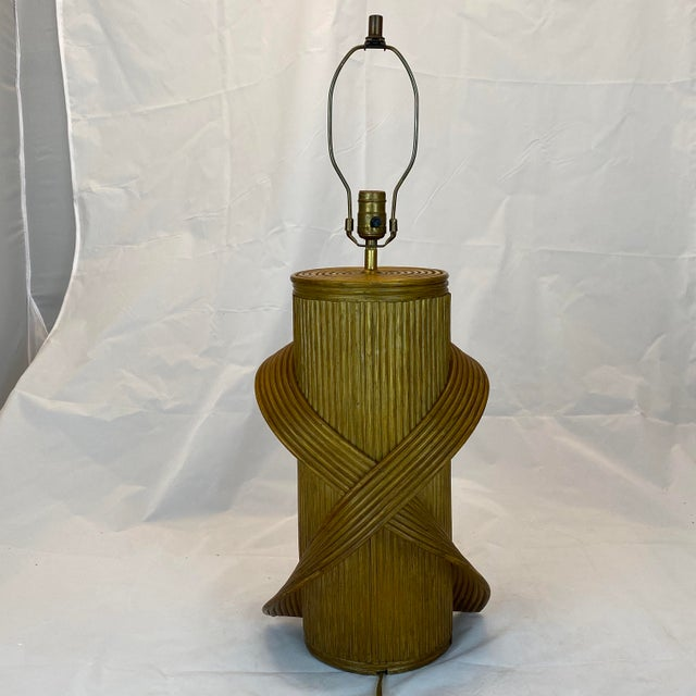 Vintage Gabriella Crespi Style Reeded Rattan Sculptural Table Lamp For Sale - Image 13 of 13
