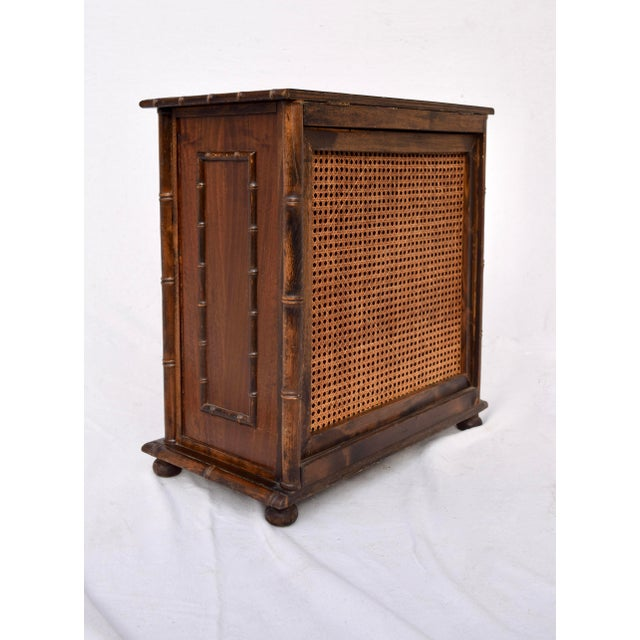 Chinese Chippendale Caned Faux Bamboo Hamper For Sale In Philadelphia - Image 6 of 11