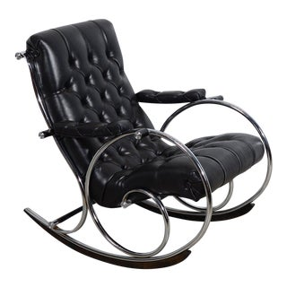 Mid-Century Modern Lee L. Woodard and Sons Black Tufted Leather Rocking Chair For Sale