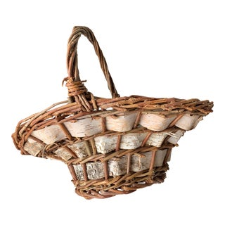 Vintage Woven Basket With Handle For Sale