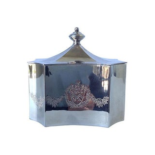 Silver Plate Keepsake Box With Shield Crest For Sale