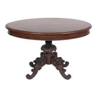 Rococo Victorian Walnut Center Table Featuring Acanthus Leaf Scrolled Legs For Sale