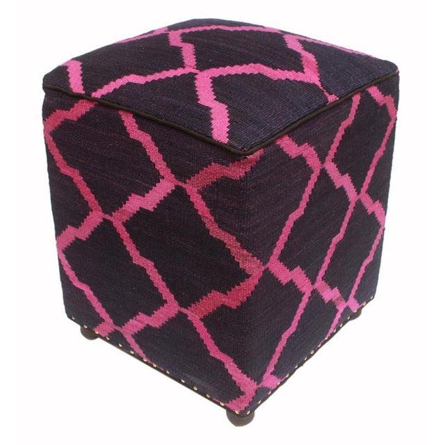 2010s Arshs Deirdre Blue/Pink Kilim Upholstered Handmade Ottoman For Sale - Image 5 of 8