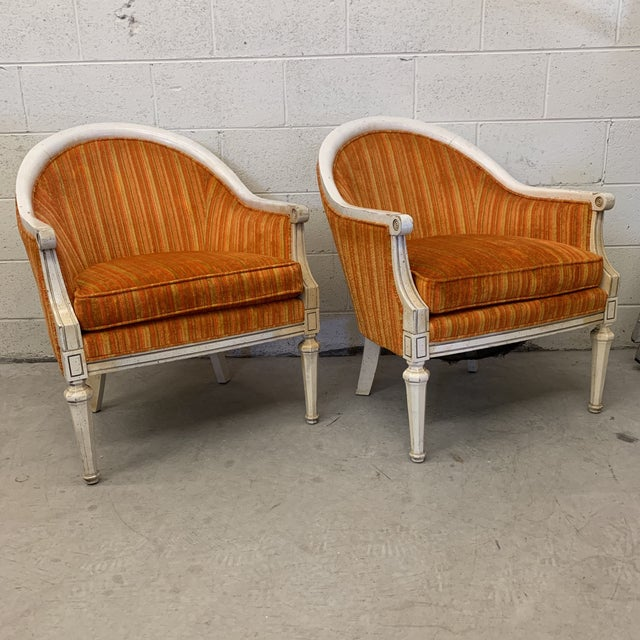 Vintage French Style Barrel Back Chairs- a Pair For Sale - Image 13 of 13