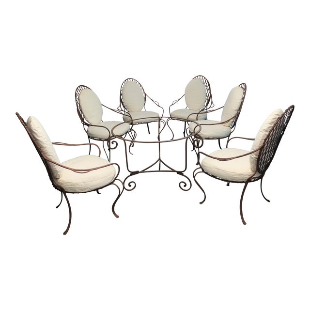 Rose Tarlow Twig Iron Garden Armchairs & Table Base For Sale