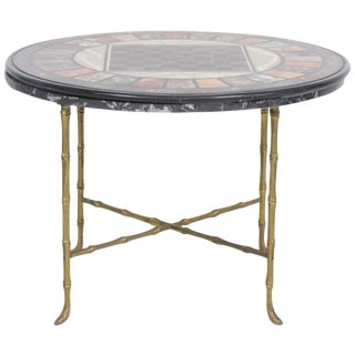 Pietra Dura Faux Bamboo Brass Marble-Top Game Table For Sale