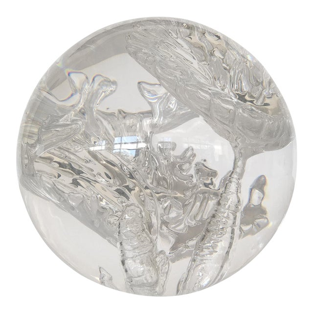 Suspended Bubble Inclusion Lucite Sphere Sculpture - Image 1 of 6