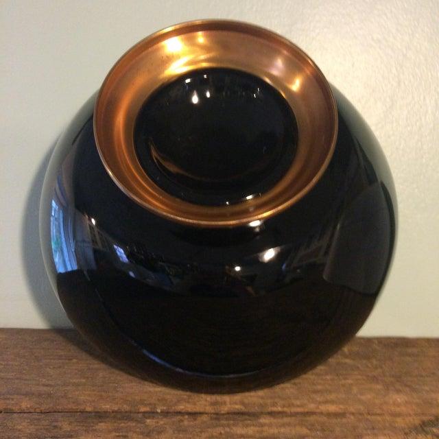 Vintage Black Glass Bowl on Gold Metal Pedestal For Sale - Image 4 of 4