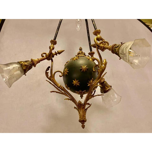 Antique French Empire Style Chandelier Ebonized Sphere With Bronze Surrounds For Sale - Image 10 of 13