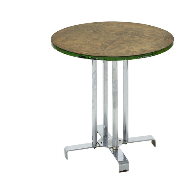 Vintage Wood and Tubular Steel Side Table Designed by Alfons Bach for Lloyd Loom Products For Sale In Houston - Image 6 of 6