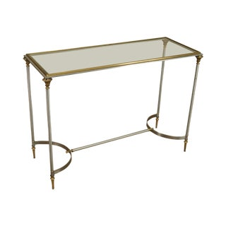 Directoire Style Brushed Steel, Brass and Glass Console Table For Sale