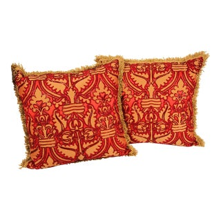 Silk Pillows with Metallic Threads and Red Beads- a Pair For Sale