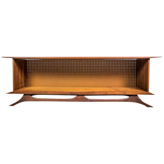 Sculpted Studio Cabinet or Credenza in Walnut For Sale