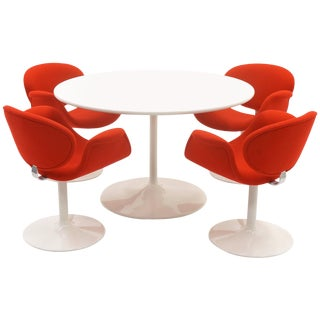 Early Pierre Paulin Dining / Kitchen Table Chairs, Red and White. Excellent. For Sale