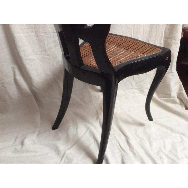Black Italian Lacquered Chair With Mother of Pearl For Sale - Image 8 of 11