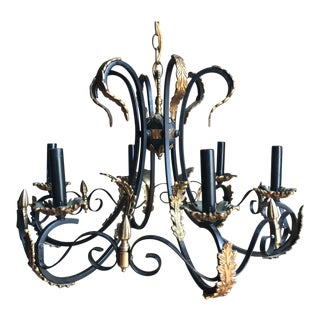 Elegant Vintage Black Wrought Iron & Acanthus 6 Arm Chandelier For Sale