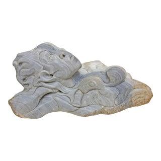 Modernist Carved Sandstone Figural Sculpture For Sale