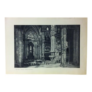 """Circa 1930 """"Interno Del Duomo"""" Print of Milano, Italy For Sale"""