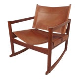 Image of Vintage Modern Leather Rocking Chair by Michel Arnoult For Sale