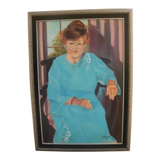 Portrait Painting of Seated Woman in a Blue Dress For Sale