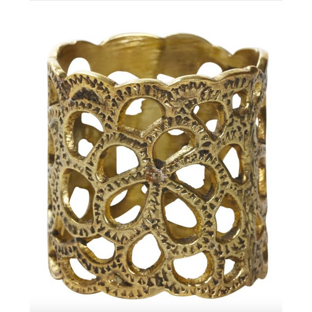 Gold Oscar De La Renta Brass Gardenia Napkin Ring- A Pair For Sale - Image 8 of 8