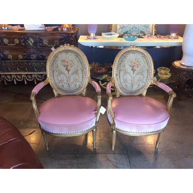 19th Century French Carved Gilt & Pink Leather Aubusson Back Arm Chairs - a Pair For Sale - Image 12 of 13