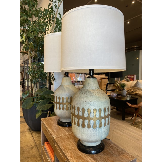 Very large MCM Atomic Age Ceramic Lamps with white linen shade. Great for large living rooms!