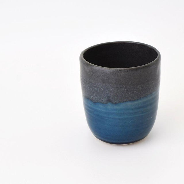 Contemporary Contemporary Handmade Charcoal and French Blue Tea Cup by FisheyeCeramics For Sale - Image 3 of 3