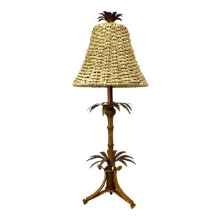 Vintage Michael Berman Metal Tropical Bamboo Table Lamp For Sale
