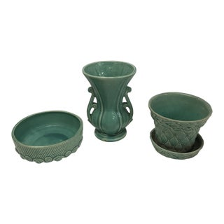 Nelson McCoy Teal Green Pottery Vase Planter and Decorative Bowl - Set of 3 For Sale
